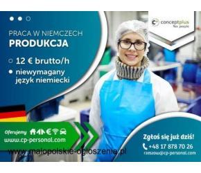PRACOWNIK PRODUKCJI (K/M)- BEZ JĘZYKA- NAWET DO 12,50 EURO BRUTTO/H - NIEMCY